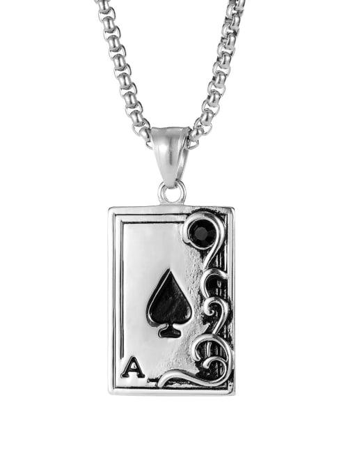 1940 [steel single pendant] Titanium Steel Enamel Geometric Vintage Necklace